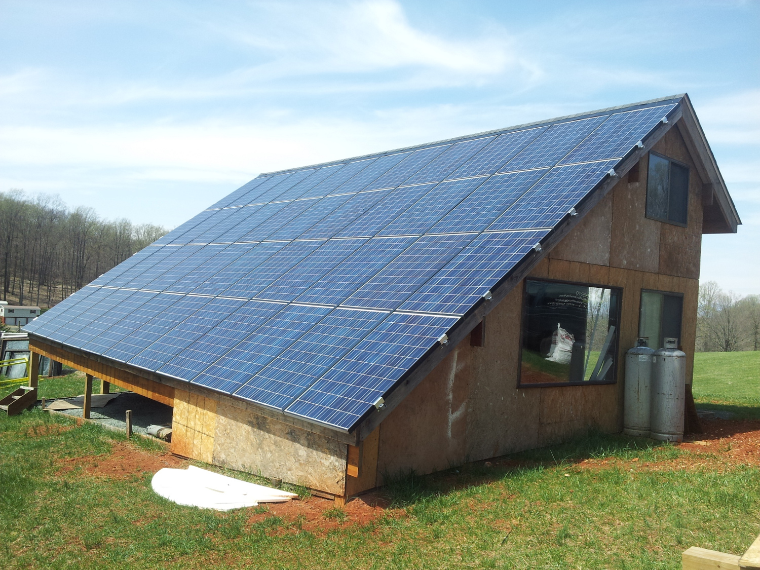 Solar PV panels installed on custom agricultural shed